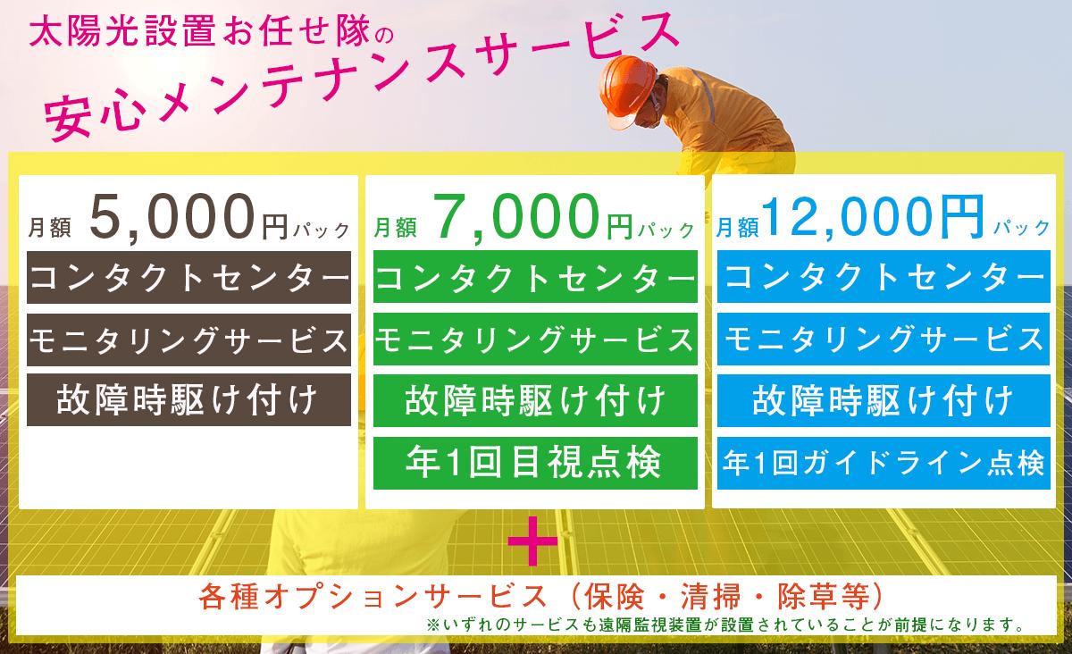 お任せ隊のメンテナンスは月額7000円(税抜)~。グループ会社によるメンテナンスですので、ローコスト化を実現できました。